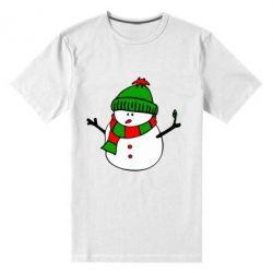 Мужская стрейчевая футболка Снеговик - FatLine
