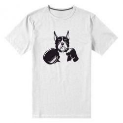 Мужская стрейчевая футболка Собака в боксерских перчатках - FatLine