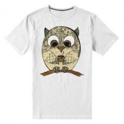 Мужская стрейчевая футболка Сова с кофе