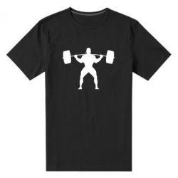 Мужская стрейчевая футболка Спортсмен со штангой - FatLine