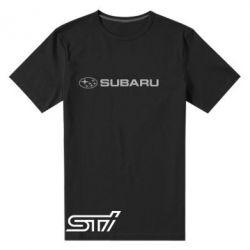 Мужская стрейчевая футболка Subaru STI лого - FatLine
