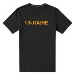 Мужская стрейчевая футболка Ukraine (потрісканий напис) - FatLine