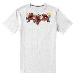 Мужская стрейчевая футболка Украинские цветы - FatLine