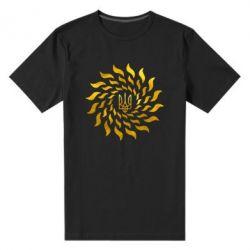 Мужская стрейчевая футболка Украинский герб-солнце Голограмма