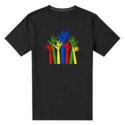 Мужская стрейчевая футболка Улыбки на руках - FatLine