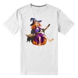 Мужская стрейчевая футболка Ведьма верхом на метле
