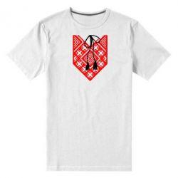 Мужская стрейчевая футболка Вишиванка з зав'язкою - FatLine