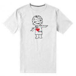 Мужская стрейчевая футболка Я люблю его - FatLine