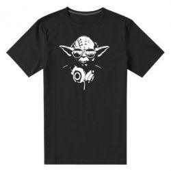 Мужская стрейчевая футболка Yoda в наушниках - FatLine