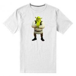 Мужская стрейчевая футболка Задумчивый Шрек - FatLine