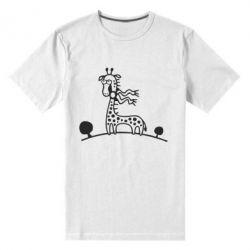 Мужская стрейчевая футболка жираф - FatLine
