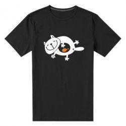 Мужская стрейчевая футболка Жирный кот - FatLine