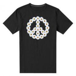Мужская стрейчевая футболка Знак мира из ромашек - FatLine