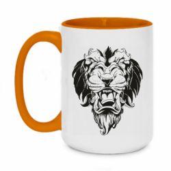 Кружка двухцветная 420ml Muzzle of a lion