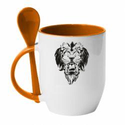 Кружка с керамической ложкой Muzzle of a lion