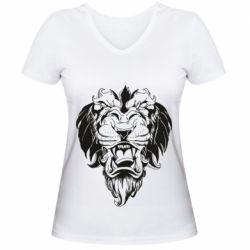Женская футболка с V-образным вырезом Muzzle of a lion