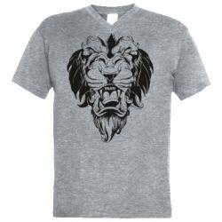 Мужская футболка  с V-образным вырезом Muzzle of a lion