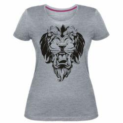 Женская стрейчевая футболка Muzzle of a lion