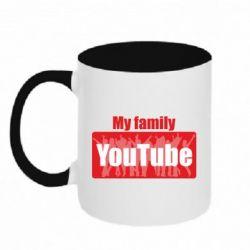 Кружка двоколірна 320ml My family youtube