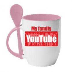 Кружка з керамічною ложкою My family youtube