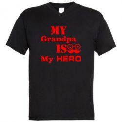 Мужская футболка  с V-образным вырезом My grandpa