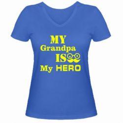 Женская футболка с V-образным вырезом My grandpa