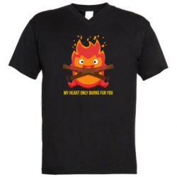 Чоловіча футболка з V-подібним вирізом MY HEART ONLY  BURNS FOR YOU