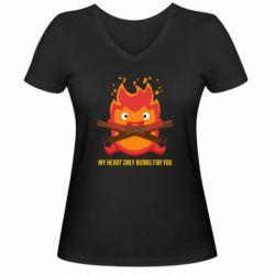 Жіноча футболка з V-подібним вирізом MY HEART ONLY  BURNS FOR YOU