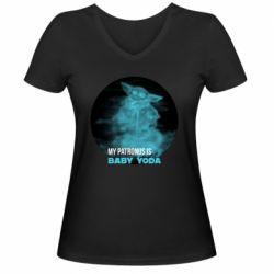 Жіноча футболка з V-подібним вирізом My patronus is Baby yoda