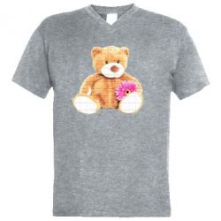 Чоловіча футболка з V-подібним вирізом М'який ведмедик
