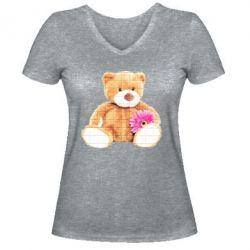 Жіноча футболка з V-подібним вирізом М'який ведмедик