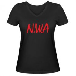 Женская футболка с V-образным вырезом N.W.A Logo - FatLine