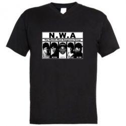 Мужская футболка  с V-образным вырезом N.W.A. - FatLine