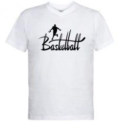 Мужская футболка  с V-образным вырезом Надпись Баскетбол - FatLine
