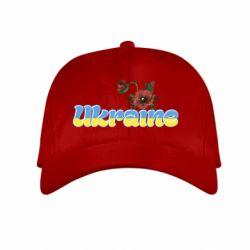 Детская кепка Надпись Украина с цветами - FatLine