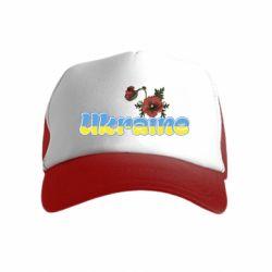 Детская кепка-тракер Надпись Украина с цветами