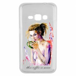 Чехол для Samsung J1 2016 Naked girl with coffee