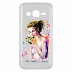 Чехол для Samsung J2 2015 Naked girl with coffee