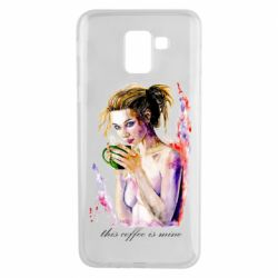 Чехол для Samsung J6 Naked girl with coffee