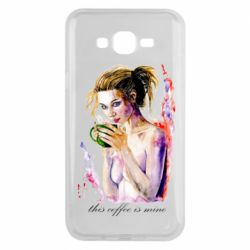 Чехол для Samsung J7 2015 Naked girl with coffee