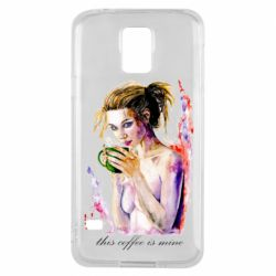 Чехол для Samsung S5 Naked girl with coffee