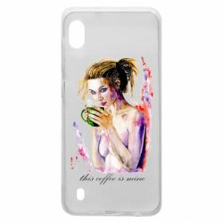 Чехол для Samsung A10 Naked girl with coffee