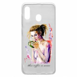 Чехол для Samsung A20 Naked girl with coffee