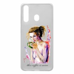 Чехол для Samsung A60 Naked girl with coffee