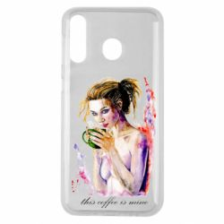 Чехол для Samsung M30 Naked girl with coffee