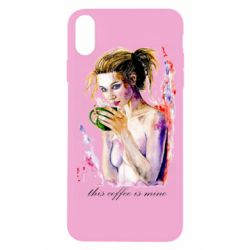 Чехол для iPhone X/Xs Naked girl with coffee