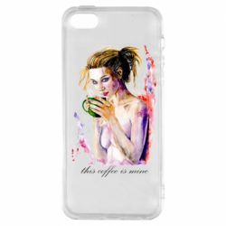 Чехол для iPhone5/5S/SE Naked girl with coffee