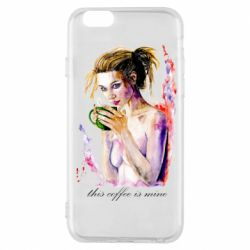 Чехол для iPhone 6/6S Naked girl with coffee