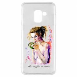Чехол для Samsung A8 2018 Naked girl with coffee