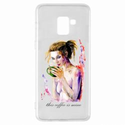 Чехол для Samsung A8+ 2018 Naked girl with coffee